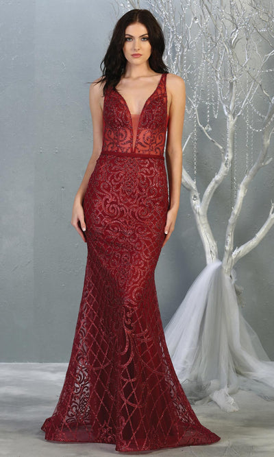 Mayqueen RQ7844 long burgundy red sequin v neck evening gown w/wide straps. Full length fitted dark red gown is perfect for  enagagement/e-shoot dress, formal wedding guest, evening party dress, prom, engagement, wedding reception. Plus sizes avail.jpg