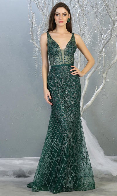 Mayqueen RQ7844 long hunter green sequin v neck evening gown w/wide straps. Full length fitted dark green gown is perfect for  enagagement/e-shoot dress, formal wedding guest, evening party dress, prom, engagement, wedding reception. Plus sizes avail.jpg