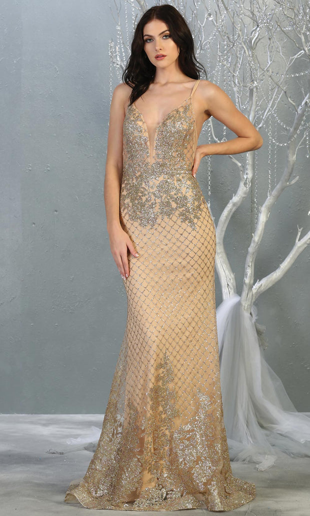 Mayqueen RQ7845 long gold sequin v neck evening gown w/straps & low back. Full length fitted gold gown is perfect for  enagagement/e-shoot dress, formal wedding guest, evening party dress, prom, engagement, wedding reception. Plus sizes avail.jpg