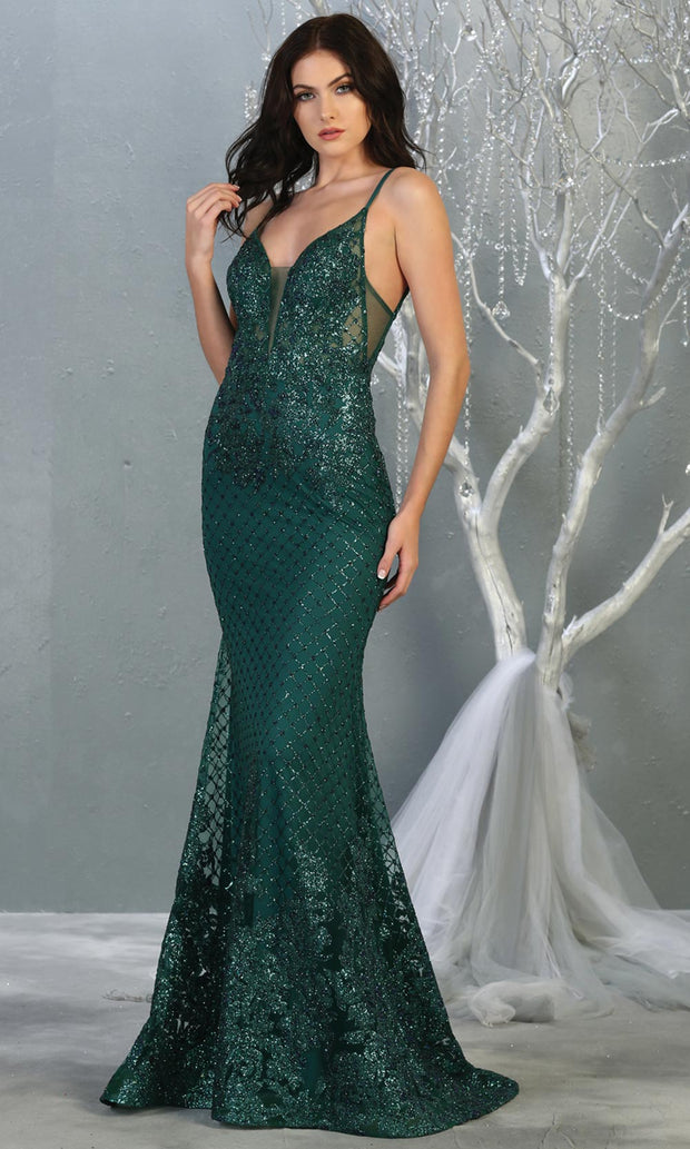 Mayqueen RQ7845 long hunter green sequin v neck evening gown w/straps & low back. Full length fitted green gown is perfect for  enagagement/e-shoot dress, formal wedding guest, evening party dress, prom, engagement, wedding reception. Plus sizes avail.jpg