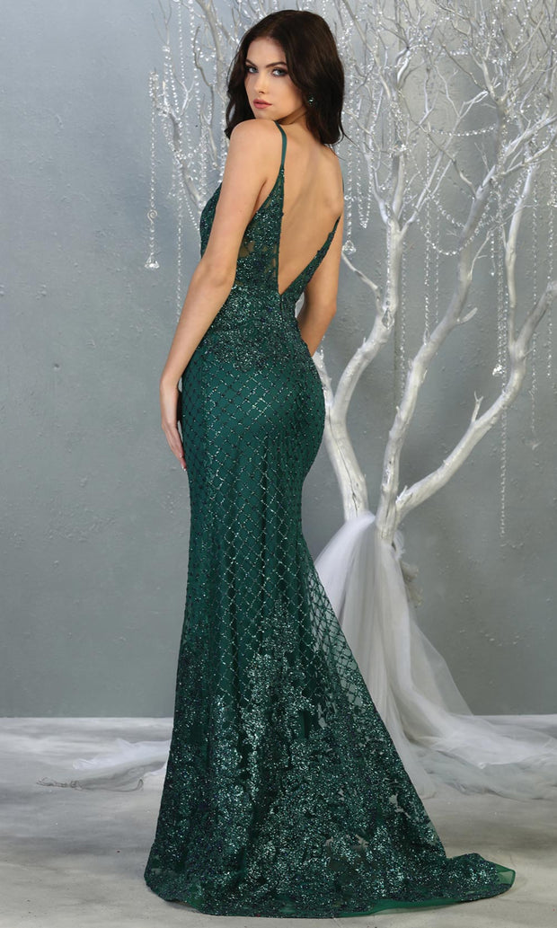 Mayqueen RQ7845 long hunter green sequin v neck evening gown w/straps & low back. Full length fitted green gown is perfect for  enagagement/e-shoot dress, formal wedding guest, evening party dress,prom,engagement, wedding reception. Plus sizes avail-b.jpg