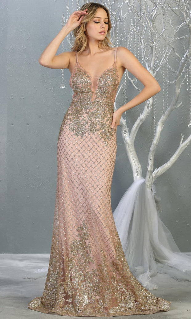 Mayqueen RQ7845 long rose gold sequin v neck evening gown w/straps & low back. Full length fitted gold gown is perfect for  enagagement/e-shoot dress, formal wedding guest, evening party dress, prom, engagement, wedding reception. Plus sizes avail.jpg