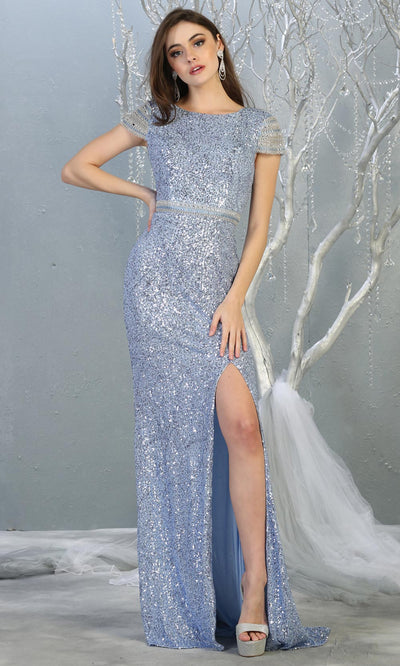 Mayqueen RQ7848 long dusty blue sequin high neck evening gown w/short sleeves & slit. Full length flowy gown is perfect for  enagagement/e-shoot dress, formal wedding guest, evening party dress, prom, engagement, wedding reception. Plus sizes avail.jpg