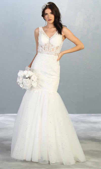 Mayqueen RQ7849 long ivory sexy wedding mermaid dress w/v neck & straps. Formal bridal gown is perfect wedding bridal dress, simple prom dress, court/civil wedding, second wedding, destination wedding dress, cheap wedding dress. Plus sizes avail.jpg.jpg