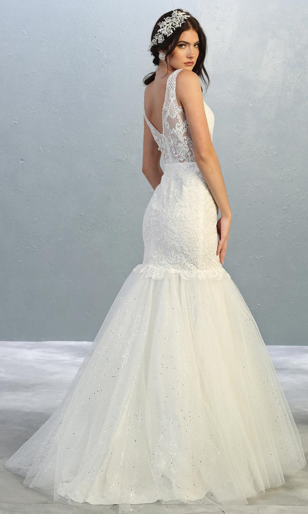 Mayqueen RQ7849 long ivory sexy wedding mermaid dress w/v neck & straps. Formal bridal gown is perfect wedding bridal dress, simple prom dress, court/civil wedding, second wedding, destination wedding dress, cheap wedding dress. Plus sizes avail-b.jpg