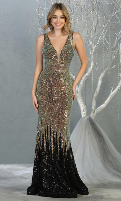 Mayqueen RQ7851 long black sequin v neck evening mermaid gown w/wide straps. Full length fitted gown is perfect for  enagagement/e-shoot dress, formal wedding guest, evening party dress, prom, engagement, wedding reception. Plus sizes avail.jpg