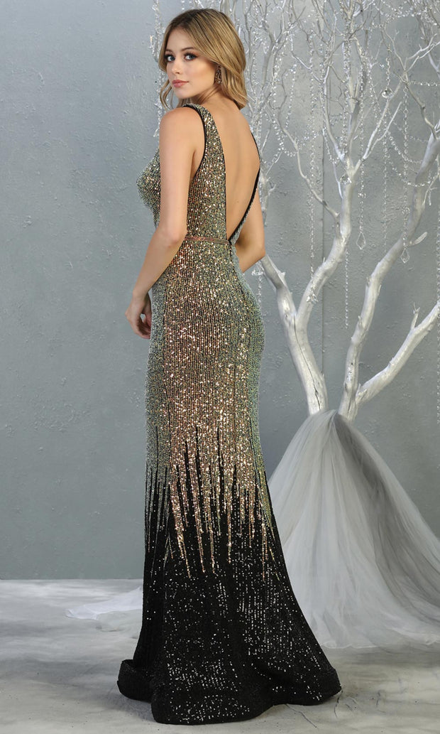 Mayqueen RQ7851 long black sequin v neck evening mermaid gown w/wide straps. Full length fitted gown is perfect for  enagagement/e-shoot dress, formal wedding guest, evening party dress, prom, engagement, wedding reception. Plus sizes avail-b.jpg