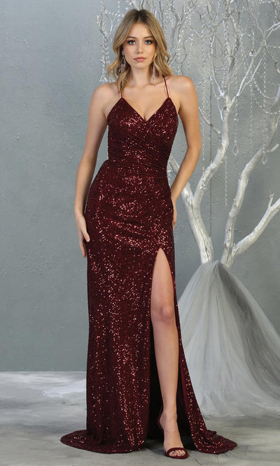 Mayqueen RQ7852 long burgundy red sequin v neck evening gown w/open back & slit. Full length fitted gown is perfect for  enagagement/e-shoot dress, formal wedding guest, evening party dress, prom, engagement, wedding reception. Plus sizes avail.jpg