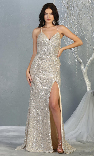 Mayqueen RQ7852 long champagne sequin v neck evening gown w/open back & slit. Full length fitted gown is perfect for  enagagement/e-shoot dress, formal wedding guest, evening party dress, prom, engagement, wedding reception. Plus sizes avail.jpg