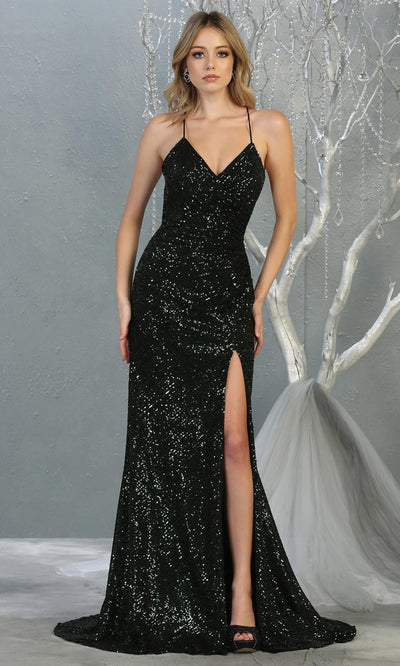 Mayqueen RQ7852 long hunter green sequin v neck evening gown w/open back & slit. Full length fitted green gown is perfect for  enagagement/e-shoot dress, formal wedding guest, evening party dress, prom, engagement, wedding reception. Plus sizes avail.jpg