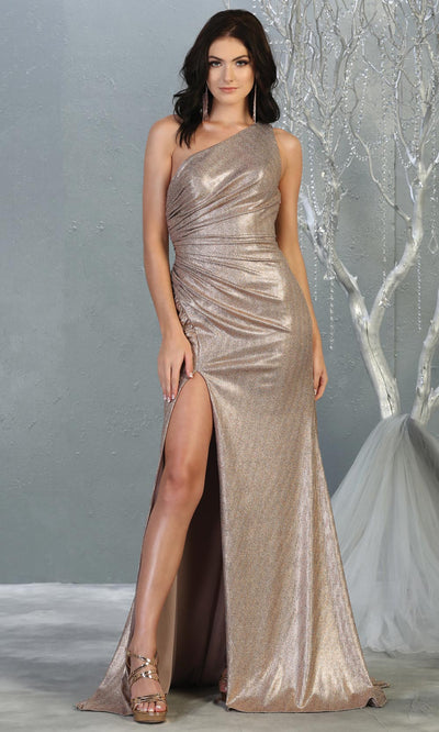 Mayqueen RQ7853 long bronze metallic one shoulder evening gown w/high slit. Full length fitted gown is perfect for  enagagement/e-shoot dress, formal wedding guest, evening party dress, prom, engagement, wedding reception. Plus sizes avail.jpg