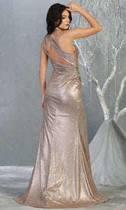 Mayqueen RQ7853 long bronze metallic one shoulder evening gown w/high slit. Full length fitted gown is perfect for  enagagement/e-shoot dress, formal wedding guest, evening party dress, prom, engagement, wedding reception. Plus sizes avail-b.jpg