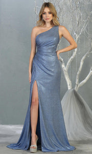 Mayqueen RQ7853 long dusty blue metallic one shoulder evening gown w/high slit. Full length fitted gown is perfect for  enagagement/e-shoot dress, formal wedding guest, evening party dress, prom, engagement, wedding reception. Plus sizes avail.jpg