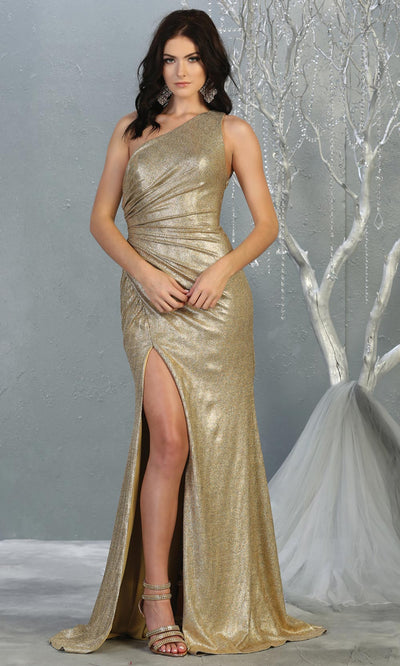 Mayqueen RQ7853 long gold metallic one shoulder evening gown w/high slit. Full length fitted gown is perfect for  enagagement/e-shoot dress, formal wedding guest, evening party dress, prom, engagement, wedding reception. Plus sizes avail.jpg