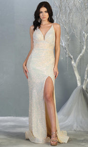 Mayqueen RQ7854 long ivory fitted sequin wedding mermaid dress w/open back. Sexy bridal gown is perfect wedding bridal dress, sequin  prom dress, court/civil wedding, second wedding, destination wedding dress, cheap wedding dress. Plus sizes avail.jpg