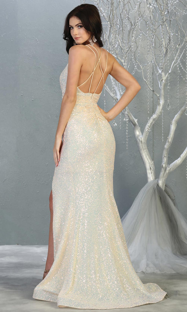 Mayqueen RQ7854 long ivory fitted sequin wedding mermaid dress w/open back. Sexy bridal gown is perfect wedding bridal dress, sequin  prom dress, court/civil wedding, second wedding, destination wedding dress, cheap wedding dress. Plus sizes avail-b.jpg