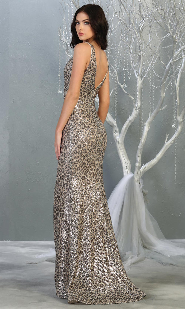 Mayqueen RQ7855 long leopard sequin v neck evening gown w/open back. Full length fitted gown is perfect for  enagagement/e-shoot dress, formal wedding guest, evening party dress, prom, engagement, wedding reception. Plus sizes avail-b.jpg