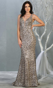 Mayqueen RQ7855 long leopard sequin v neck evening gown w/open back. Full length fitted gown is perfect for  enagagement/e-shoot dress, formal wedding guest, evening party dress, prom, engagement, wedding reception. Plus sizes avail.jpg