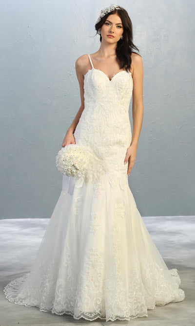 Mayqueen RQ7857 long ivory fitted lace wedding mermaid dress w/ train. Sexy bridal gown is perfect wedding bridal dress, sequin  prom dress, court/civil wedding, second wedding, destination wedding dress, cheap wedding dress. Plus sizes avail.jpg