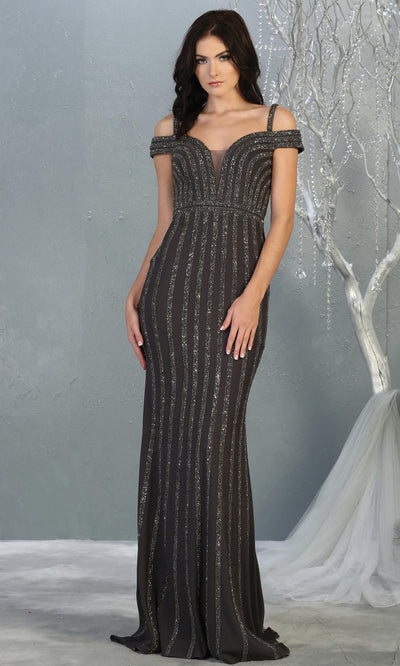 Mayqueen RQ7861 long gun metal off shoulder sequin evening gown. Full length fitted dark grey mermaid gown is perfect for  enagagement/e-shoot dress, formal wedding guest, evening party dress, prom, engagement, wedding reception. Plus sizes avail.jpg