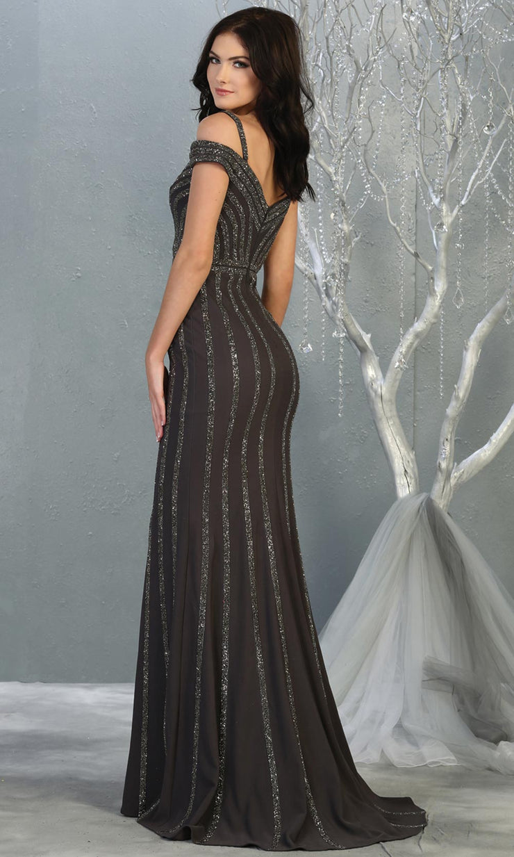 Mayqueen RQ7861 long gun metal off shoulder sequin evening gown. Full length fitted dark grey mermaid gown is perfect for  enagagement/e-shoot dress, formal wedding guest, evening party dress, prom, engagement, wedding reception. Plus sizes avail-b.jpg