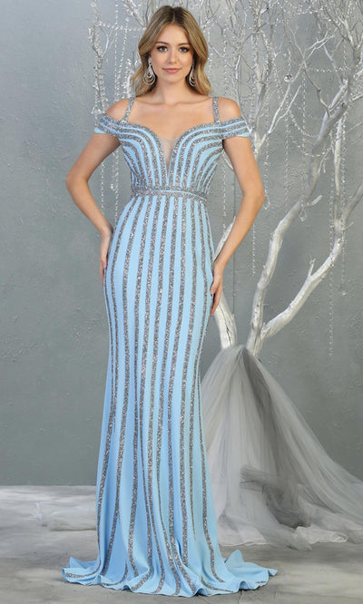 Mayqueen RQ7861 long perry blue off shoulder sequin evening gown. Full length fitted light blue mermaid gown is perfect for  enagagement/e-shoot dress, formal wedding guest, evening party dress, prom, engagement, wedding reception. Plus sizes avail.jpg