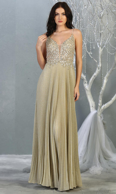 Mayqueen RQ7862 long champagne v neck sequin top evening gown. Full length flowy gold gown w/ crinkle skirt is perfect for  enagagement/e-shoot dress, formal wedding guest, evening party dress, prom, engagement, wedding reception. Plus sizes avail.jpg