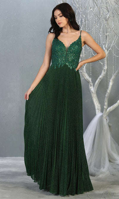 Mayqueen RQ7862 long hunter green v neck sequin top evening gown. Full length flowy green gown w/ crinkle skirt is perfect for  enagagement/e-shoot dress, formal wedding guest, evening party dress, prom, engagement, wedding reception. Plus sizes avail.jpg