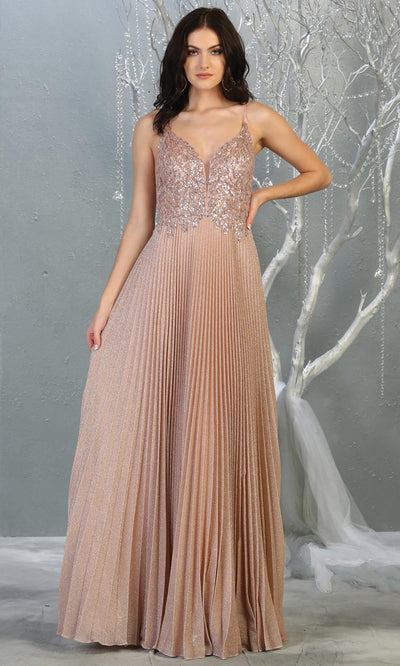 Mayqueen RQ7862 long rose gold v neck sequin top evening gown. Full length flowy rose gold gown w/crinkle skirt is perfect for  enagagement/e-shoot dress, formal wedding guest, evening party dress, prom, engagement, wedding reception. Plus sizes avail.jpg