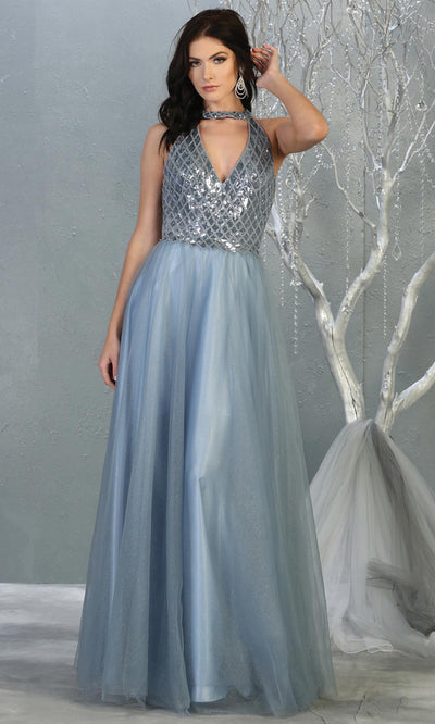 Mayqueen RQ7863 long dusty blue v neck sequin top evening gown. Full length flowy blue gown w/ tulle skirt is perfect for  enagagement/e-shoot dress, formal wedding guest, evening party dress, prom, engagement, wedding reception. Plus sizes avail.jpg