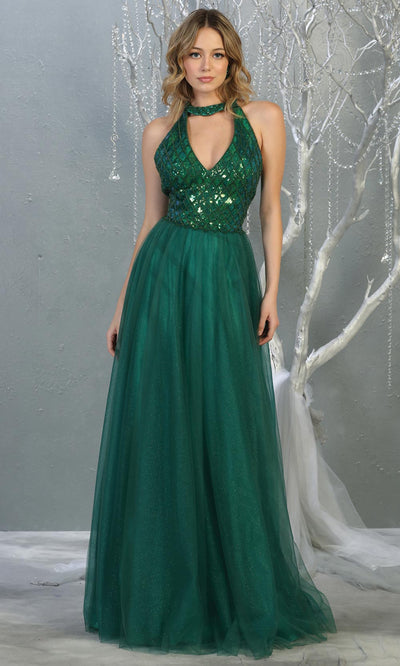 Mayqueen RQ7863 long hunter green v neck sequin top evening gown. Full length flowy green gown w/ tulle skirt is perfect for  enagagement/e-shoot dress, formal wedding guest, evening party dress, prom, engagement, wedding reception. Plus sizes avail.jpg