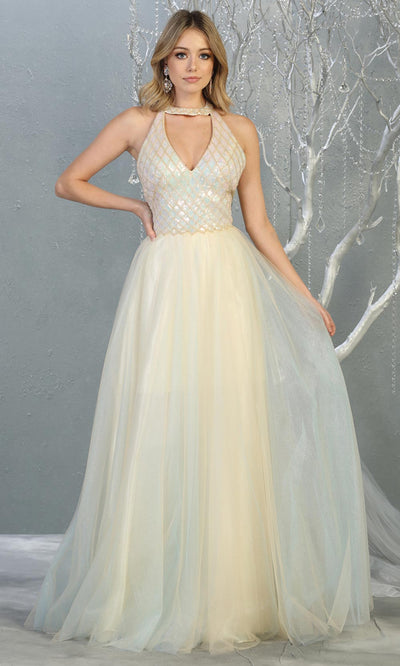 Mayqueen RQ7863 long ivory flowy tulle wedding semi ballgow w/ halter. Simple bridal gown is perfect wedding bridal dress, sequin  prom dress, court/civil wedding, second wedding, destination wedding dress, cheap wedding dress. Plus sizes avail.jpg.jpg