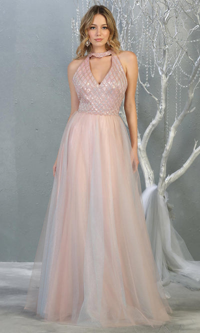 Mayqueen RQ7863 long mauve v neck sequin top evening gown. Full length flowy pink gown w/ tulle skirt is perfect for  enagagement/e-shoot dress, formal wedding guest, evening party dress, prom, engagement, wedding reception. Plus sizes avail.jpg