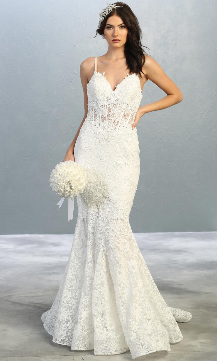 Mayqueen RQ7865-long ivory sexy wedding dress w/v neck & straps. Formal lace mermaid dress is perfect wedding bridal dress, sexy prom dress, court/civil wedding, second wedding, destination wedding dress, cheap wedding dress. Plus sizes avail.jpg