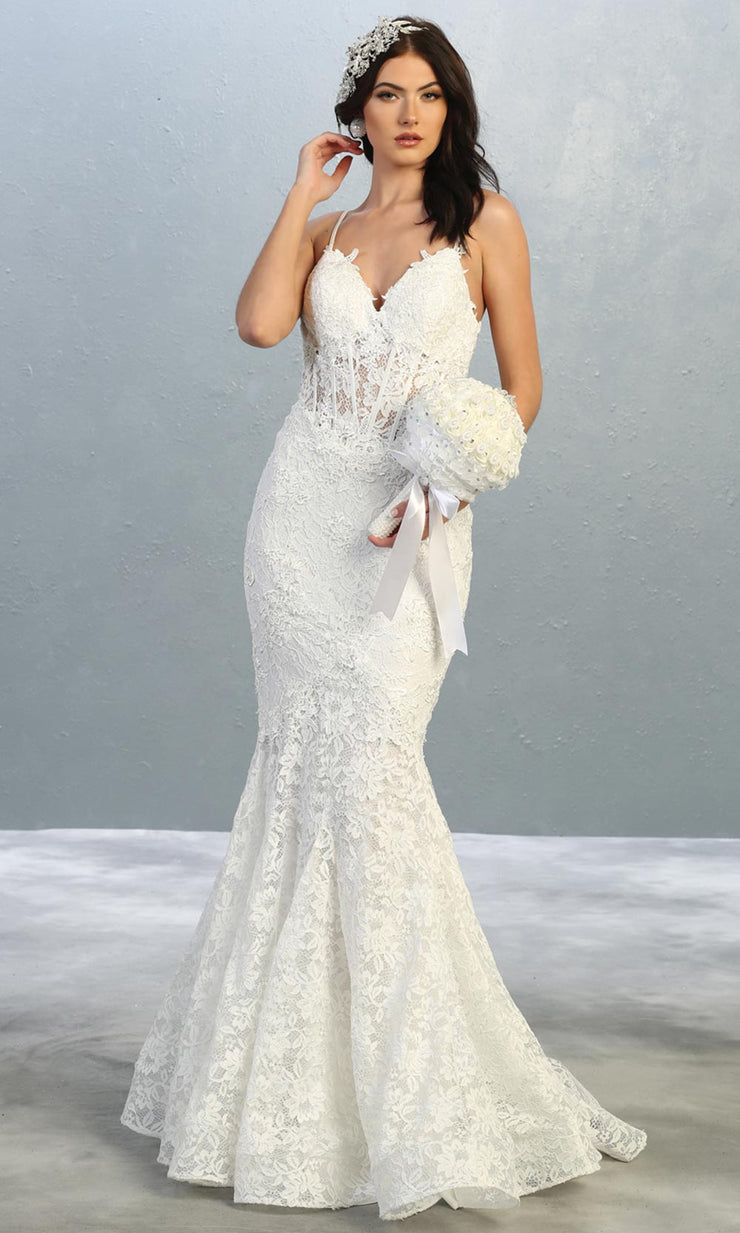 Mayqueen RQ7865-long ivory sexy wedding dress w/v neck & straps. Formal lace mermaid dress is perfect wedding bridal dress, sexy prom dress, court/civil wedding, second wedding, destination wedding dress, cheap wedding dress. Plus sizes avail1.jpg
