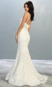Mayqueen RQ7865-long ivory sexy wedding dress w/v neck & straps. Formal lace mermaid dress is perfect wedding bridal dress, sexy prom dress, court/civil wedding, second wedding, destination wedding dress, cheap wedding dress. Plus sizes avail-b.jpg