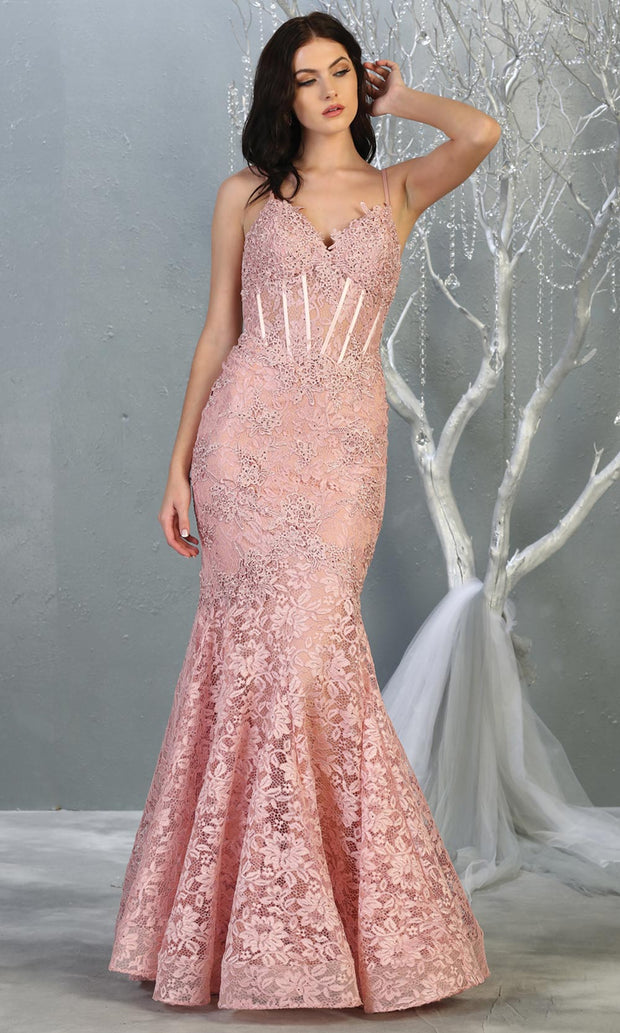Mayqueen RQ7865 long dusty rose v neck evening mermaid dress w/straps. Full length dusty rose lace gown is perfect for  enagagement/e-shoot dress, formal wedding guest, evening party dress, prom, engagement, wedding reception. Plus sizes avail.jpg