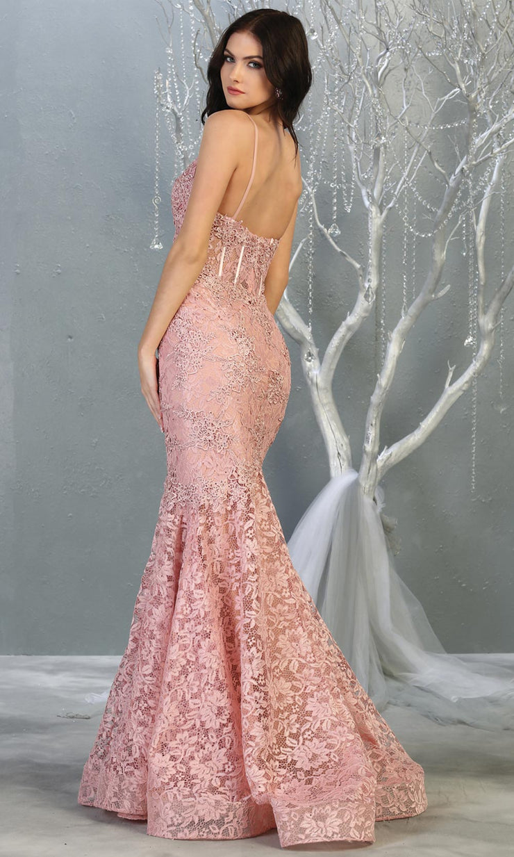 Mayqueen RQ7865 long dusty rose v neck evening mermaid dress w/straps. Full length dusty rose lace gown is perfect for  enagagement/e-shoot dress, formal wedding guest, evening party dress, prom, engagement, wedding reception. Plus sizes avail-b.jpg