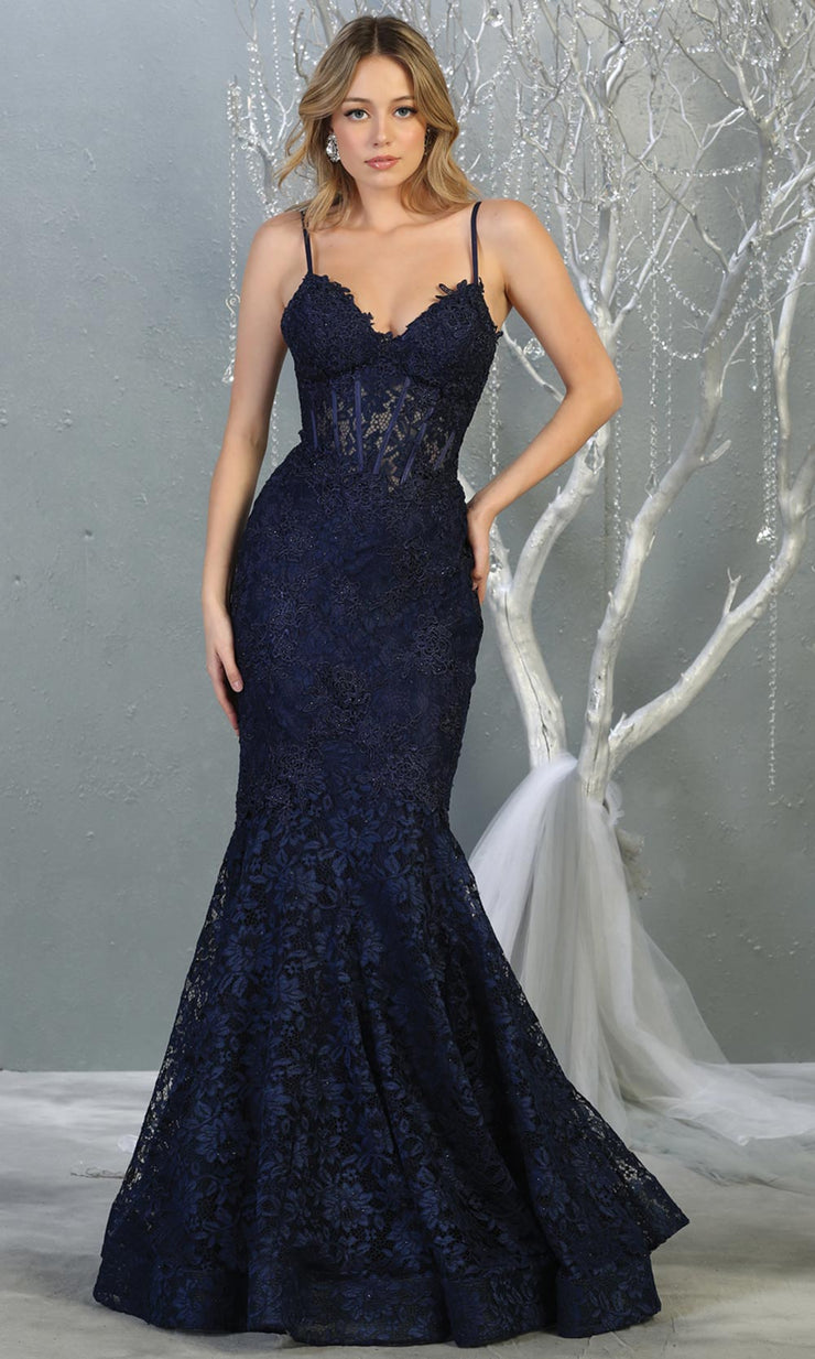 Mayqueen RQ7865 long navy blue v neck evening mermaid dress w/straps. Full length dark blue lace gown is perfect for  enagagement/e-shoot dress, formal wedding guest, evening party dress, prom, engagement, wedding reception. Plus sizes avail.jpg