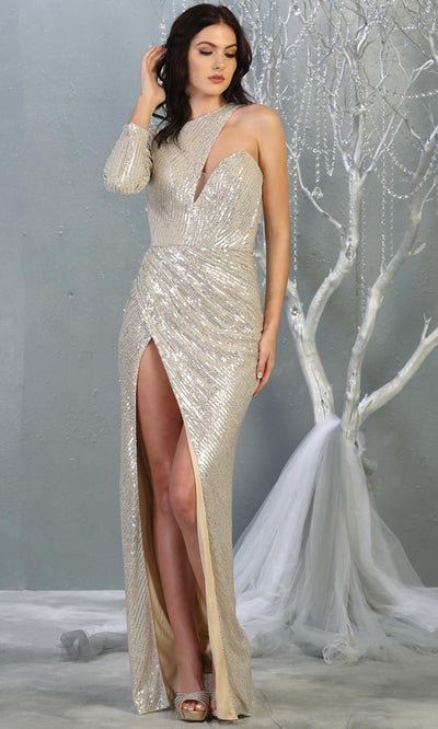Mayqueen RQ7867 long champagne sequin one shoulder evening gown w/long sleeve. Full length fitted dress is perfect for  enagagement/e-shoot dress, formal wedding guest, evening party dress, prom, engagement, wedding reception. Plus sizes avail.jpg