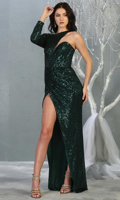Mayqueen RQ7867 long hunter green sequin one shoulder evening gown w/long sleeve. Full length fitted dress is perfect for  enagagement/e-shoot dress, formal wedding guest, evening party dress, prom, engagement, wedding reception. Plus sizes avail..jpg