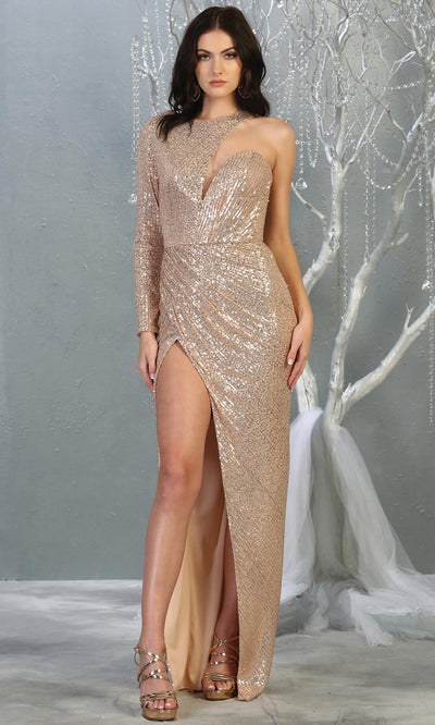 Mayqueen RQ7867 long rose gold sequin one shoulder evening gown w/long sleeve. Full length fitted dress is perfect for  enagagement/e-shoot dress, formal wedding guest, evening party dress, prom, engagement, wedding reception. Plus sizes avail.jpg
