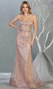 Mayqueen RQ7868 long rose gold v neck evening mermaid dress w/wide straps. Full length rose gold gown is perfect for  enagagement/e-shoot dress, formal wedding guest, evening party dress, prom, indowestern gown, wedding reception. Plus sizes avail.jpg