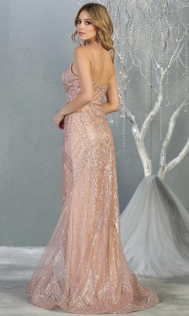 Mayqueen RQ7868 long rose gold v neck evening mermaid dress w/wide straps. Full length rose gold gown is perfect for  enagagement/e-shoot dress, formal wedding guest, evening party dress, prom, indowestern gown, wedding reception. Plus sizes avail-b.jpg