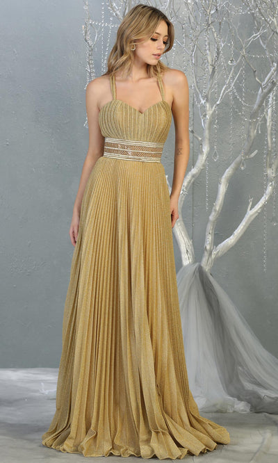 Mayqueen RQ7869 long champagne metallic scoop neck evening gown w/straps & crinkle skirt. Full length flowy gown is perfect for  enagagement/e-shoot dress, formal wedding guest, evening party dress, prom, bridesmaids, black tie, gala. Plus sizes avail.jpg