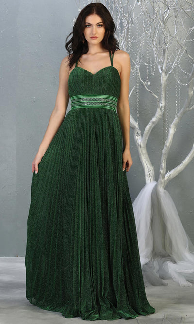 Mayqueen RQ7869 long hunter green metallic scoop neck evening gown w/straps & crinkle skirt. Full length flowy gown is perfect for  enagagement/e-shoot dress, formal wedding guest, evening party dress, prom, bridesmaids, black tie. Plus sizes avail.jpg