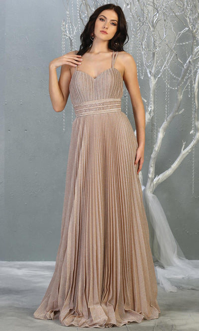 Mayqueen RQ7869 long rose gold metallic scoop neck evening gown w/straps & crinkle skirt. Full length flowy gown is perfect for  enagagement/e-shoot dress, formal wedding guest, evening party dress, prom, bridesmaids, black tie, gala. Plus sizes avail.jpg