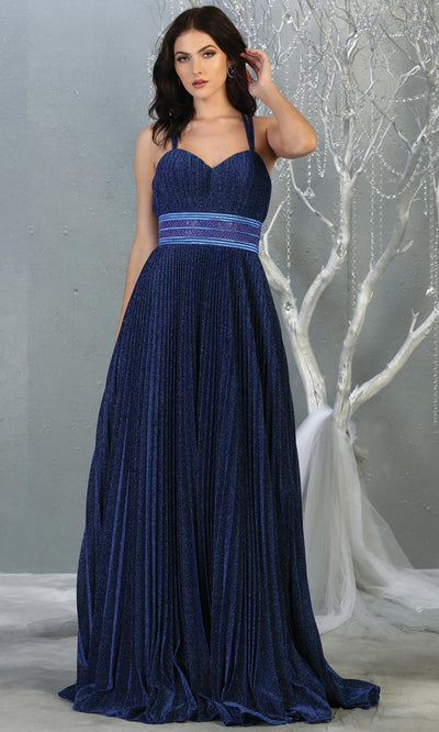 Mayqueen RQ7869 long royal blue metallic scoop neck evening gown w/straps & crinkle skirt.Full length flowy dress is perfect for  enagagement/e-shoot dress,formal wedding guest, evening party dress, prom, bridesmaids, black tie, gala. Plus sizes avail.jpg