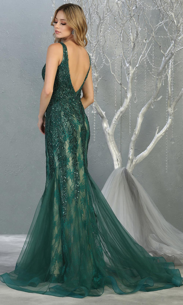 Mayqueen RQ7872 long hunter green lace v neck evening mermaid gown w/straps. Full length fitted dress is perfect for  enagagement/e-shoot dress, formal wedding guest, modest evening party dress, prom, mother of bride, black tie, gala. Plus sizes avail.jpg