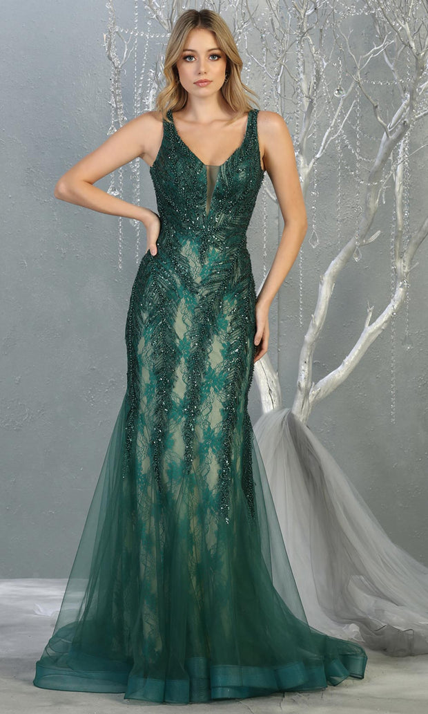 Mayqueen RQ7872 long hunter green lace v neck evening mermaid gown w/straps. Full length fitted dress is perfect for  enagagement/e-shoot dress, formal wedding guest, modest evening party dress, prom, mother of bride, black tie. Plus sizes avail-b.jpg